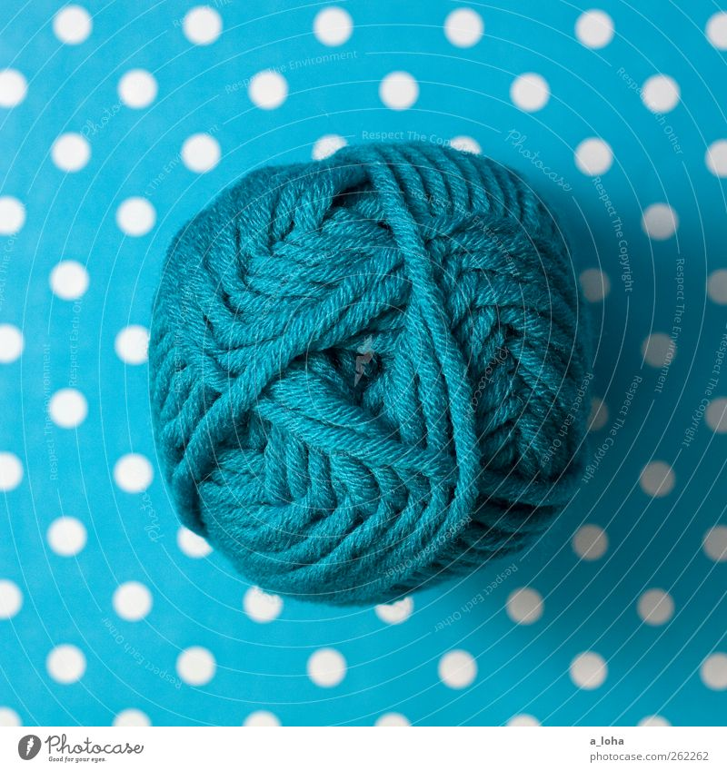 in the beginning was wool III Leisure and hobbies Knot Hip & trendy White Beginning Wool Turquoise Spotted Line Wound up Point Knit Lamb's wool Sheep Soft