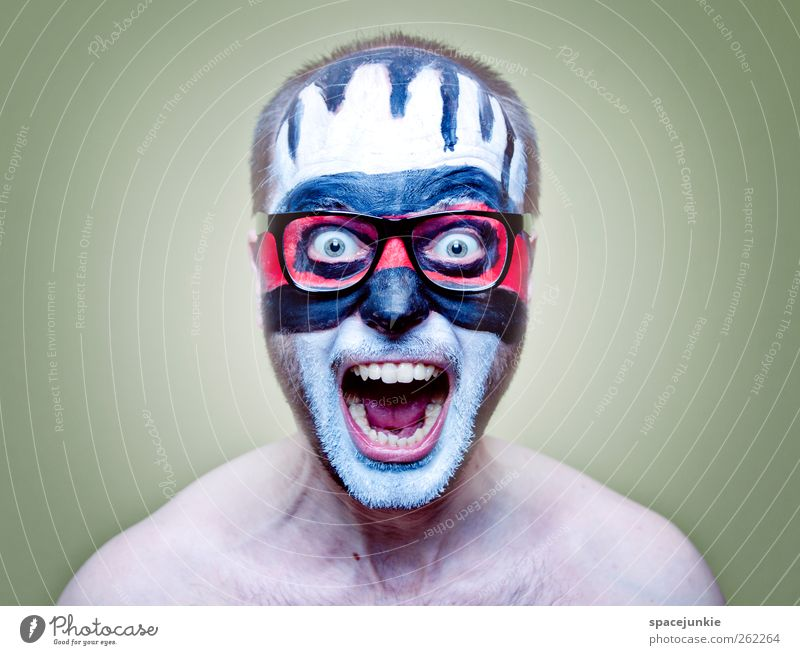 Human being Man Youth (Young adults) White Red Black Adults Dye Art Masculine Crazy Eyeglasses Mask Creepy Force Scream