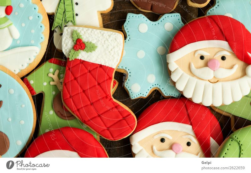 Beautiful cookies Dessert Face Winter Decoration Feasts & Celebrations Christmas & Advent New Year's Eve Wood Ornament Delicious Blue Brown Green Red Tradition