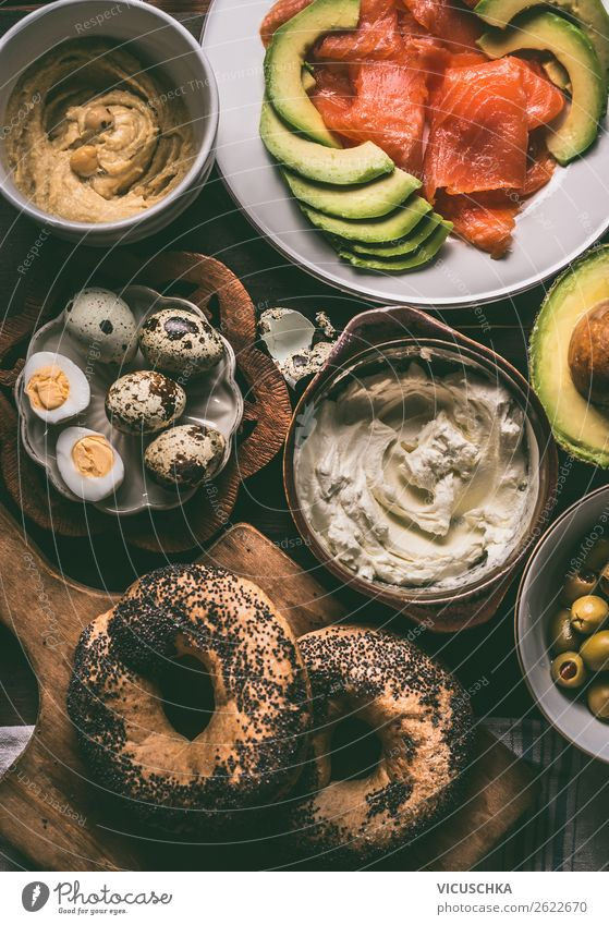 Breakfast with bagel, eggs, salmon and avocado Food Cheese Roll Nutrition Buffet Brunch Organic produce Crockery Style Design Healthy Eating Living or residing