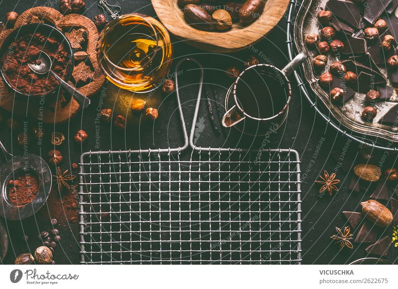 Chocolate with cocoa powder, nuts and brandy Food Nutrition Hot Chocolate Alcoholic drinks Crockery Style Design Background picture Vintage Cocoa bean Spirits