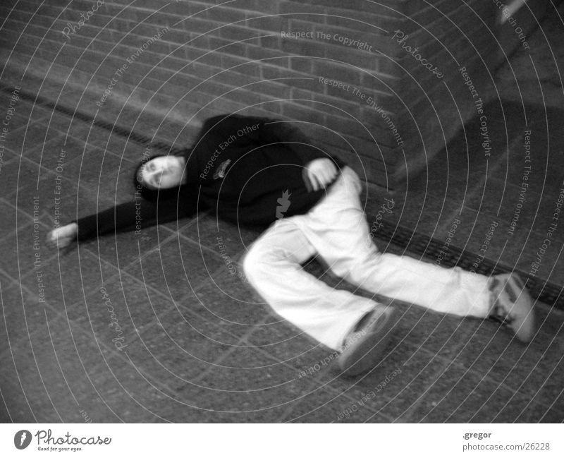at the station White Black Struck Street art Sleep Human being Floor covering Death left