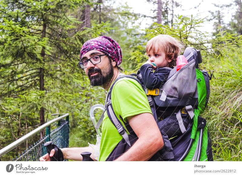 A father with his baby in the mountain Lifestyle Vacation & Travel Tourism Adventure Summer Mountain Hiking Sports Child Baby Toddler Boy (child) Man Adults