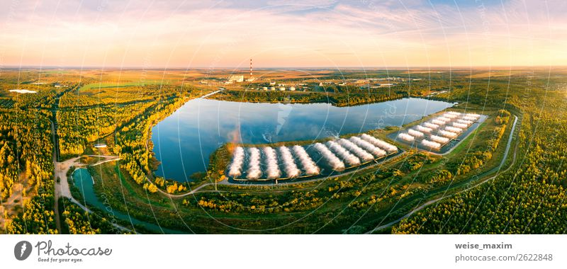 power plant with splash cooling pool. Aerial view Sky Nature Summer Plant Landscape Forest Autumn Environment Meadow Building Lake Field Weather Vantage point