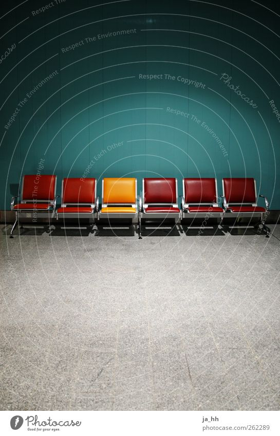 Vacation & Travel City Red Loneliness Yellow Wall (building) Wall (barrier) Architecture Sit Wait Empty Concrete Chair Furniture Turquoise Paris