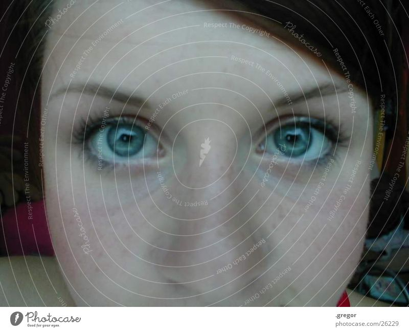 Woman Blue Face Eyes Nose Freckles Part