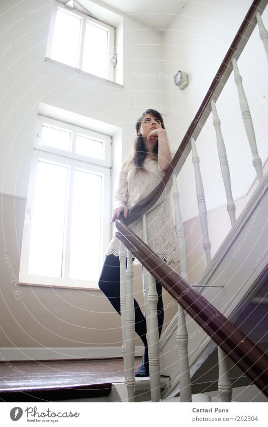 waiting. Flat (apartment) Staircase (Hallway) Stairs Banister Handrail Window Period apartment Old building Feminine Young woman Youth (Young adults) Woman