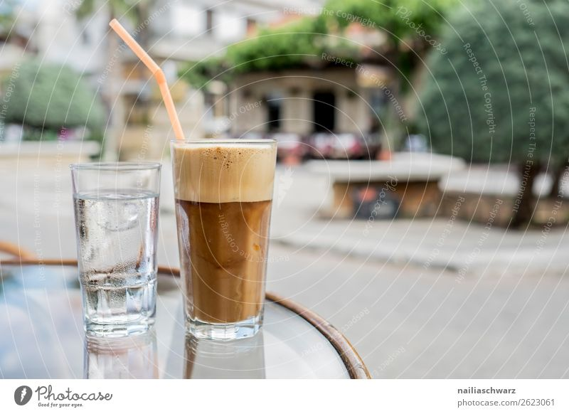 latte macchiato Beverage Drinking water Coffee Latte macchiato Lifestyle Relaxation Calm Vacation & Travel Tourism Trip Summer Summer vacation Restaurant Greece