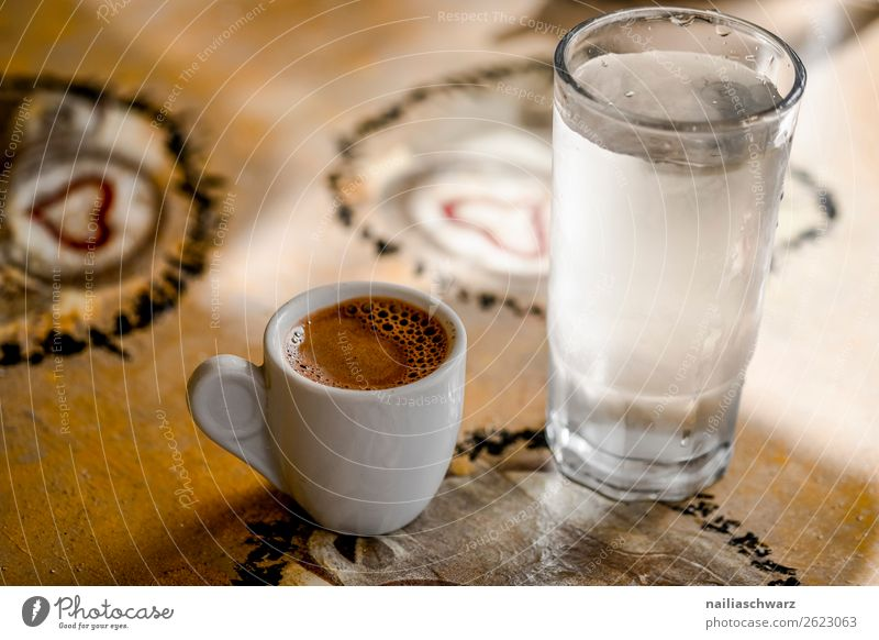 mocha Breakfast To have a coffee Beverage Cold drink Hot drink Coffee Espresso Water Cup Mug Lifestyle Vacation & Travel Trip Summer Restaurant Going out Table