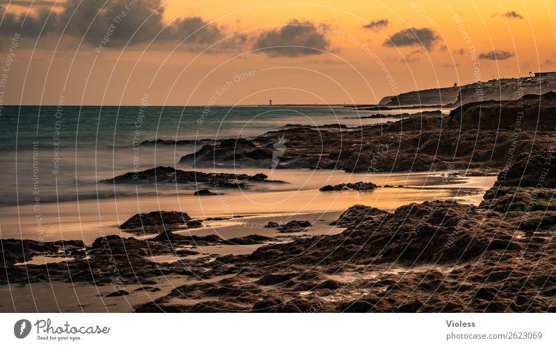 Nature Summer Sun Beach Environment Coast Orange Rock Sand Waves Elements Bay Kitsch Fuerteventura