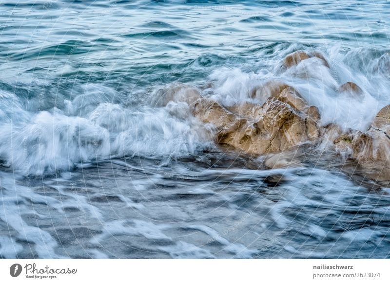 Beach on Crete Vacation & Travel Summer Ocean Island Waves Environment Nature Landscape Water Warmth Rock Coast Lakeside Mediterranean sea Greece Wet Natural