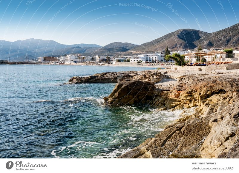 On the beach, Crete in Summer Vacation & Travel Tourism Summer vacation Beach Environment Nature Landscape Air Water Sun Spring Beautiful weather Rock Mountain
