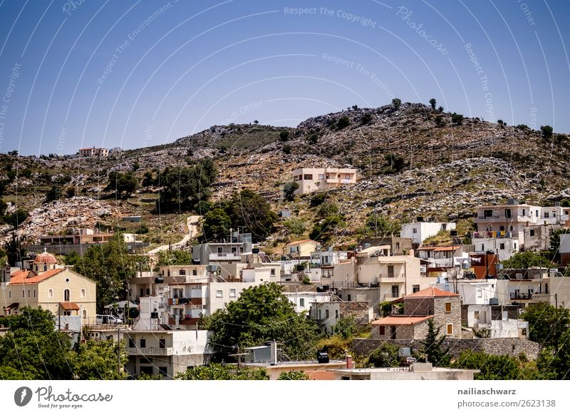 Mountain village on Crete Lifestyle Vacation & Travel Tourism Trip Far-off places Summer Summer vacation Nature Landscape Hill Island Greece Village