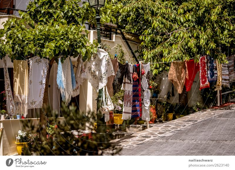 Shopping street in Crete Lifestyle Handcrafts Vacation & Travel Tourism Trip Far-off places Summer Summer vacation Nature Greece Village Small Town Downtown