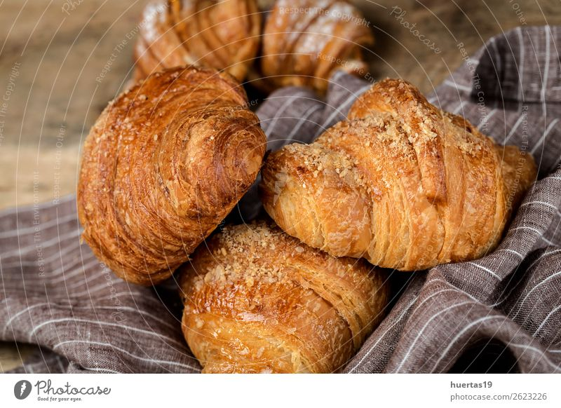 freshly baked buns with almonds. Croissants and brioches Food Roll Dessert Candy Breakfast Delicious Tradition cake Bakery Home-made sweet Snack French Sugar