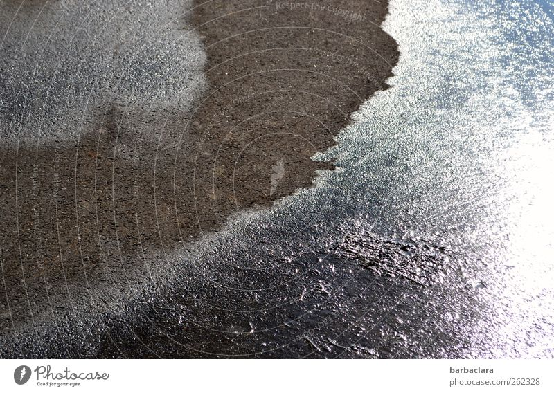 leave traces Earth Water Sunlight Winter Ice Frost Street Asphalt Stone Line Stripe Illuminate Glittering Cold Gray Black Silver Transience Change