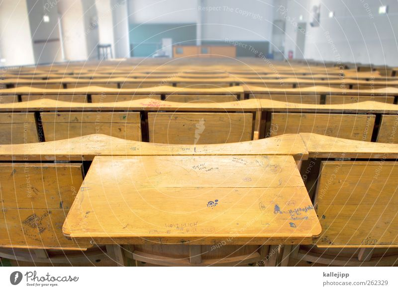 semester break Education Science & Research School Study School building Classroom Blackboard Academic studies Lecture hall Tabletop Row of seats Graffiti Wood