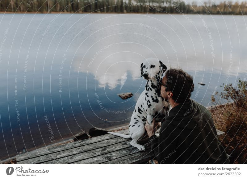 Dog Dalmatian sits with man master at the lake Masculine Man Adults Nature Landscape Water Lakeside River Pet Relaxation To enjoy Natural Safety (feeling of)