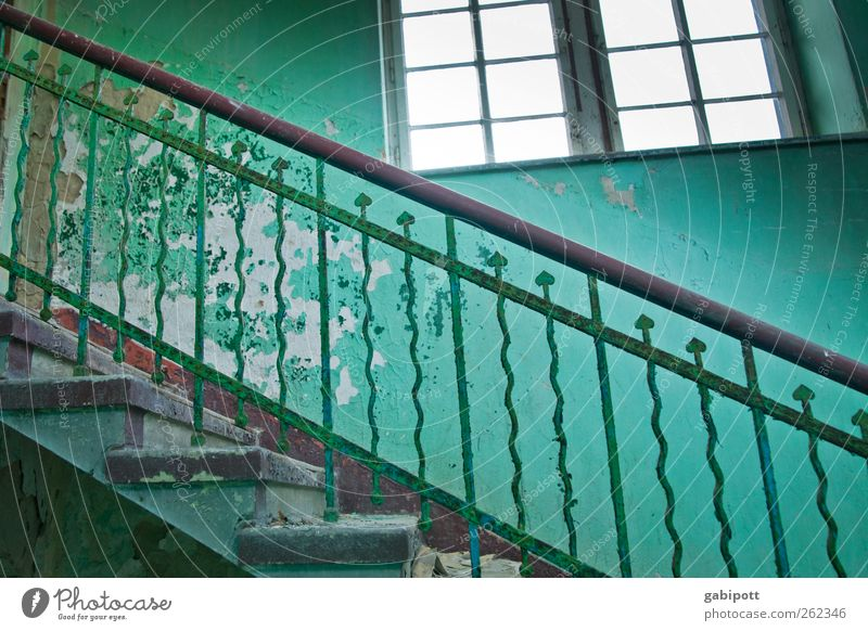 levels Deserted Ruin Manmade structures Building Architecture Wall (barrier) Wall (building) Stairs Window Monument Old Exotic Historic Broken Retro Blue Green