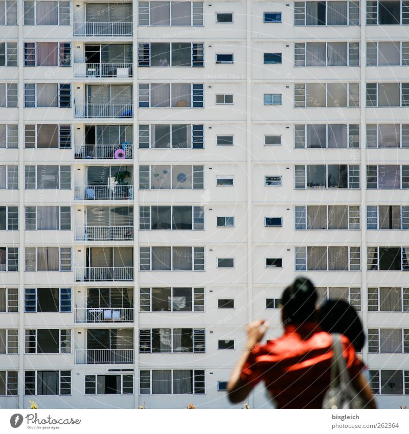 Human being Woman Youth (Young adults) City Red Adults Window Gray Back High-rise 18 - 30 years USA Balcony Crowd of people Sharp-edged Gigantic