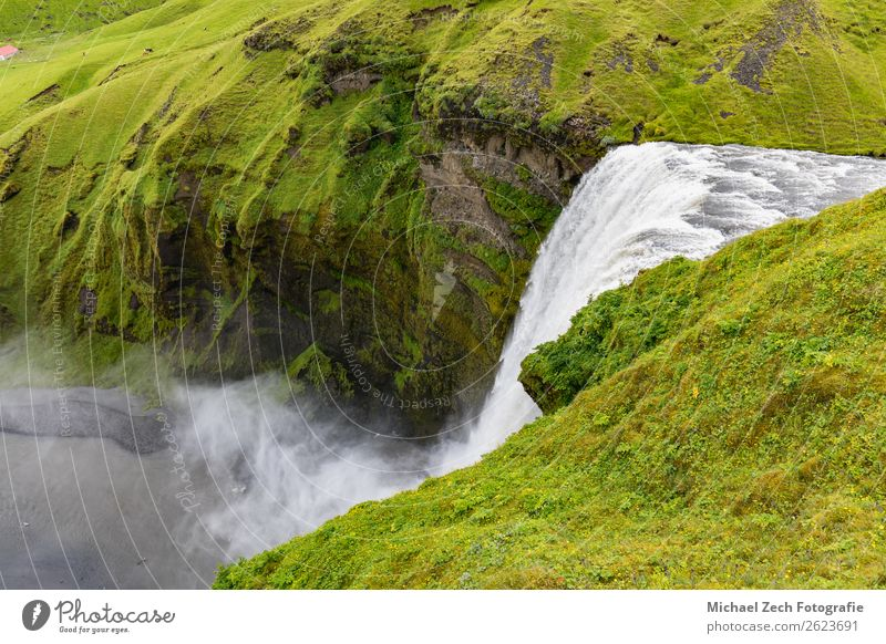 natural nice and beautiful waterfall on iceland Beautiful Nature Landscape Sky Clouds Fog Rain Rock River Waterfall Stone Natural Iceland iceland landscape