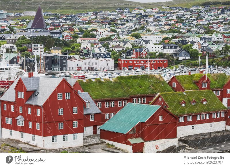 Panorama view to the city of Torshavn on Faroer islands denmark Vacation & Travel Nature Old Town Green Landscape Red Ocean House (Residential Structure)