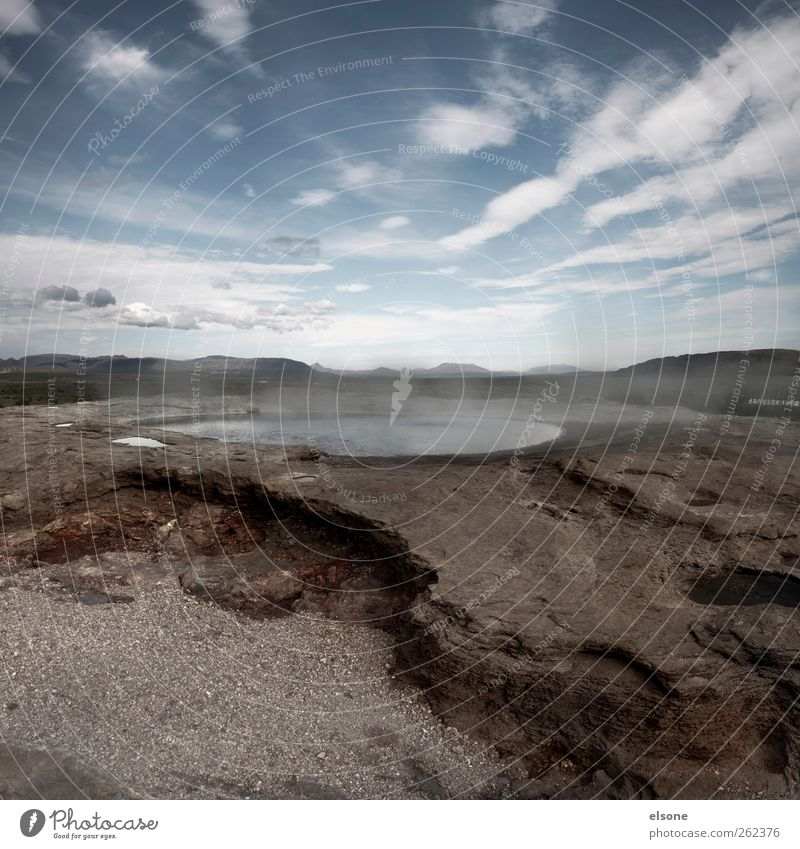 Sky Nature Water Clouds Landscape Warmth Lake Horizon Rock Travel photography Hot Iceland Pond Drought Steam Volcano
