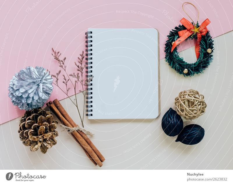 Creative flat lay of craft and blank notebook Christmas & Advent Winter Happy Style Feasts & Celebrations Pink Design Decoration Vantage point Creativity Gift