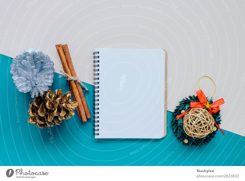 Creative flat lay of craft and blank notebook Christmas & Advent Green Winter Happy Style Feasts & Celebrations Design Decoration Vantage point Creativity Gift