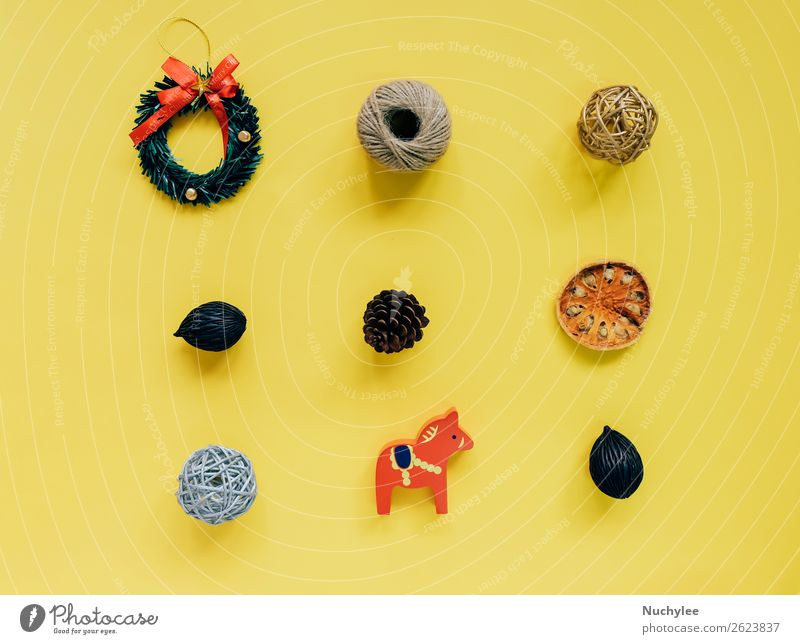 Creative flat lay of christmas ornaments Christmas & Advent Winter Lifestyle Yellow Happy Feasts & Celebrations Copy Space Design Bright Decoration Modern