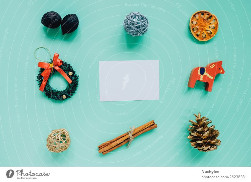 Creative flat lay of christmas ornaments Herbs and spices Lifestyle Design Happy Winter Decoration Feasts & Celebrations Christmas & Advent Workplace