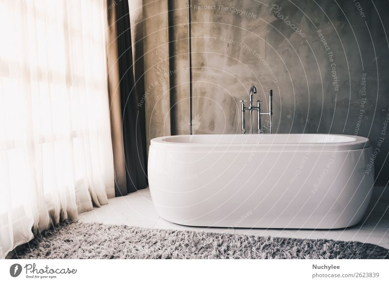 Modern luxury bathtub in the bathroom interior Lifestyle Luxury Elegant Style Design Beautiful Relaxation Flat (apartment) House (Residential Structure)