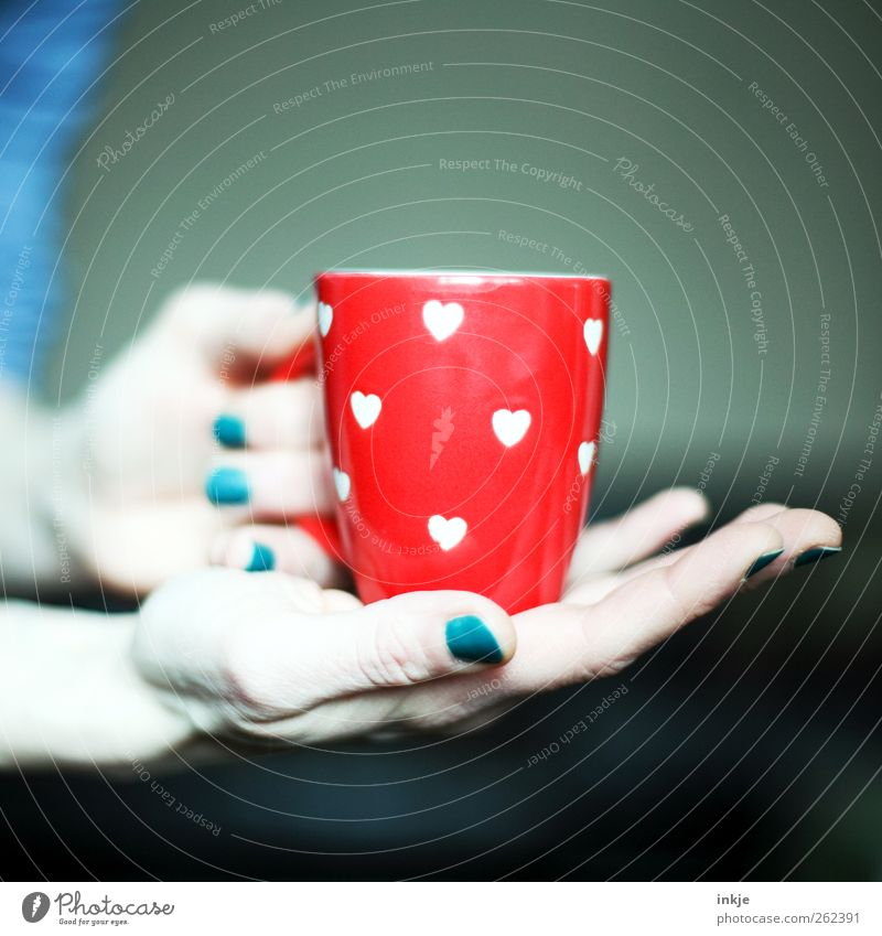 The cup that didn't match the nail polish. Breakfast Beverage Hot drink Coffee Tea Cup Mug Style Nail polish Adults Life Hand 1 Human being Heart To hold on
