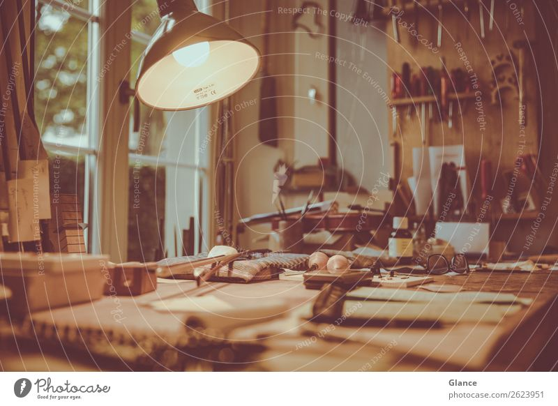 workplace Lamp Desk Table Room Craftsperson Workplace Craft (trade) Closing time Tool Wood Work and employment Make Natural Beautiful Brown Moody Life Chaos