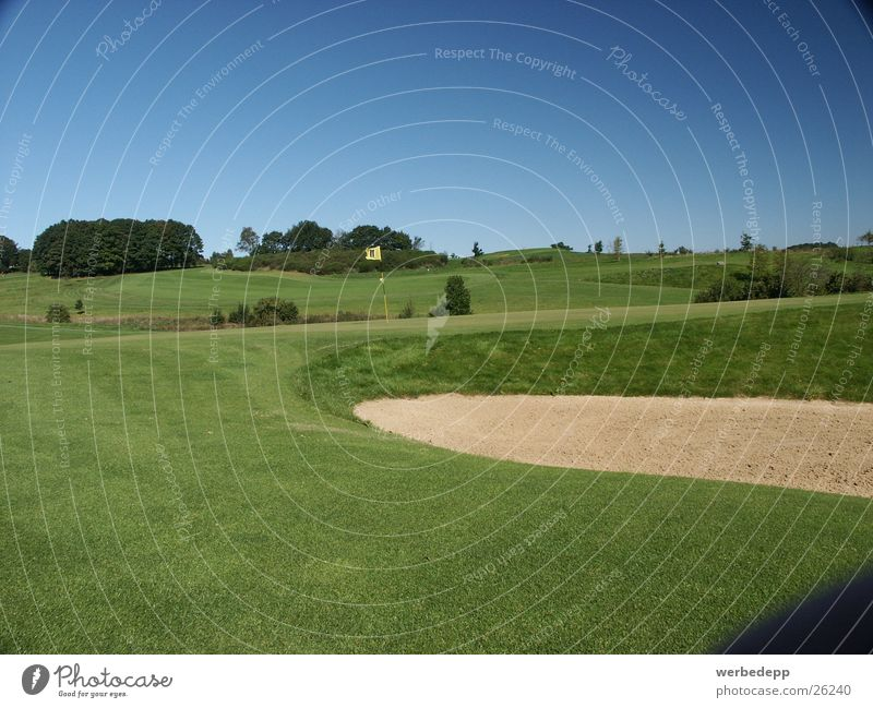Golf course with bunker Grass Meadow Green Sauerland Mountain Sky Sand rough