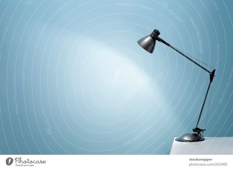 Office light Blue Wall (building) Lamp Lighting Table Illuminate Copy Space Electric Illumination Object photography Blank Luminosity Desk lamp
