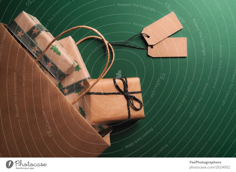 Overturned paper bag full of gifts Elegant Christmas & Advent Birthday Retro Many Brown above view Anniversary Blank christmas Classic Conceptual design context