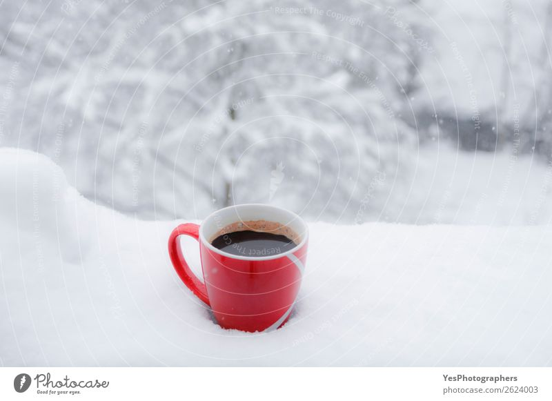 Red cup of coffee outdoor in snow Breakfast Beverage Hot drink Coffee Lifestyle Relaxation Leisure and hobbies Winter Snow Christmas & Advent New Year's Eve