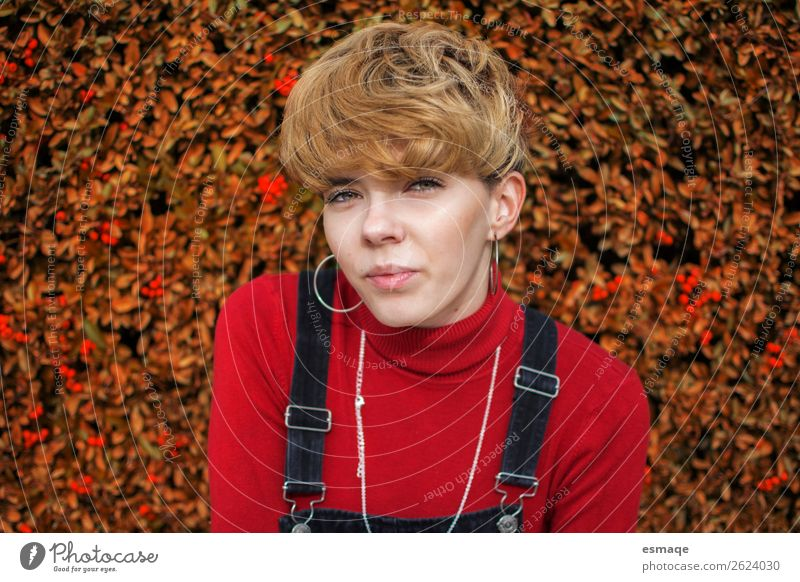 portrait young woman in autumn Lifestyle Joy Human being Feminine Young woman Youth (Young adults) 1 Nature Plant Accessory Hair and hairstyles Blonde