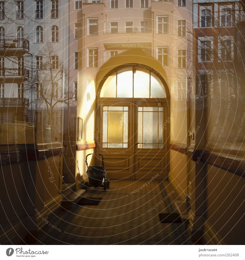 Through and behind (gate entrance in Kreuzberg) Town house (City: Block of flats) Facade Archway Illuminate Fantastic Retro Inspiration Surrealism Dream