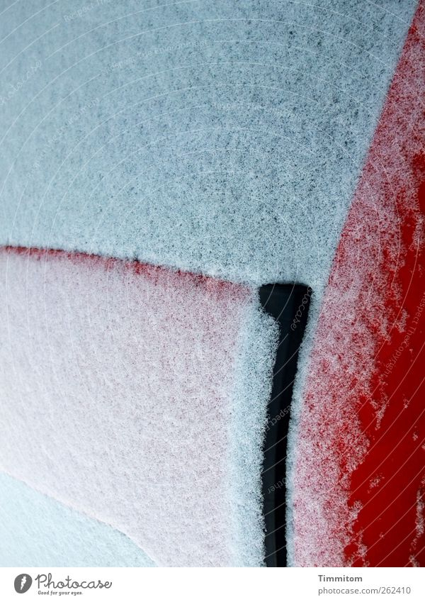 Delicate white cover. Means of transport Car Glass Metal Esthetic Bright Red White Senses Curve Line Black Car roof Rear Window Colour photo Multicoloured