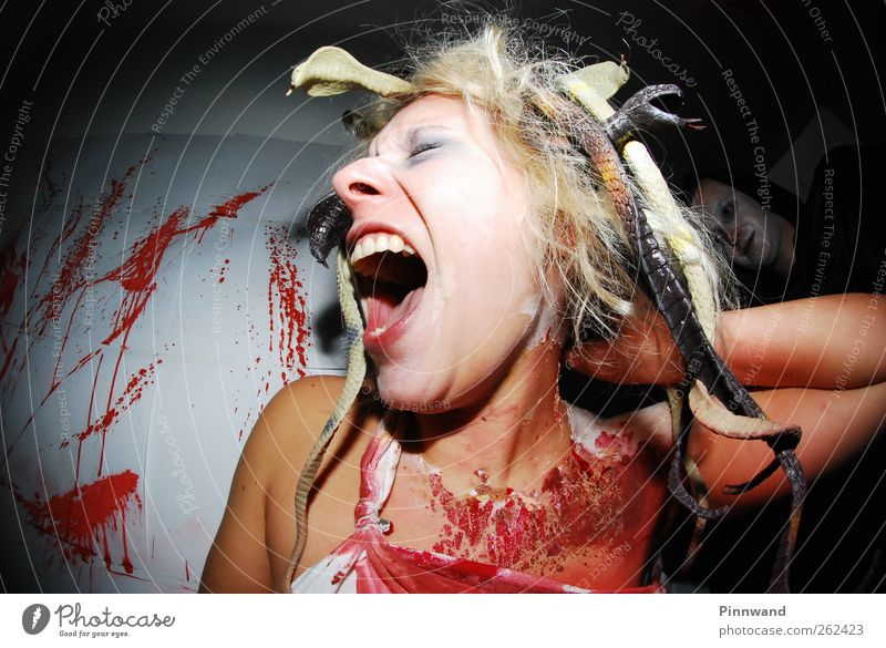 bloody partyVI Hair and hairstyles Mirror Hallowe'en Fairs & Carnivals Human being Fashion Snake Scream Blonde Dirty Red Sadness Pain Fear Horror Aggravation