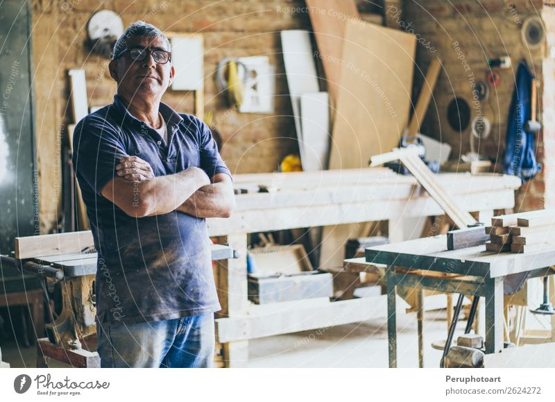 Portrait of senior carpenter in his workshop Shopping Happy Work and employment Craftsperson Industry Craft (trade) Human being Man Adults Grandfather Arm Old