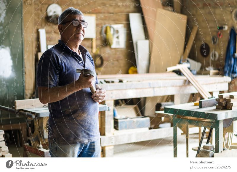 Portrait of senior carpenter. Human being Man Old Adults Happy Work and employment Stand Arm Shopping Industry Concentrate Self-confident Craft (trade)