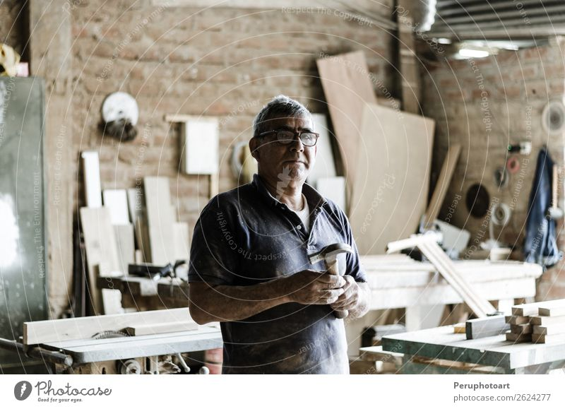 Portrait of senior carpenter. Shopping Happy Work and employment Craftsperson Industry Craft (trade) Human being Man Adults Grandfather Arm Old Stand