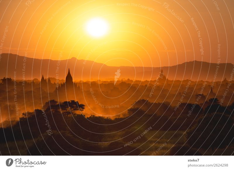 Sunset in Bagan Mountain Building Pagoda Tourist Attraction Exceptional Yellow Gold Orange Belief Horizon Vacation & Travel Tourism Past Transience Dusty
