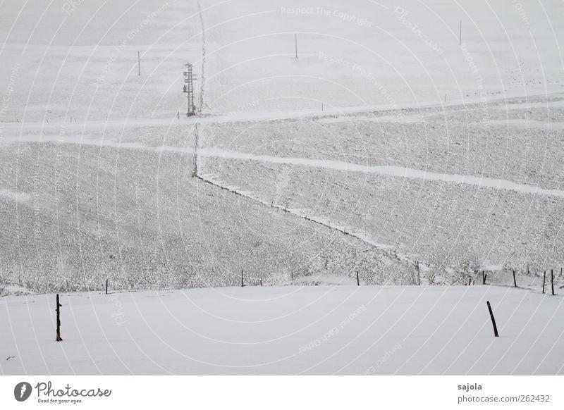 Nature White Winter Black Calm Far-off places Environment Landscape Cold Snow Gray Sadness Line Field Fence Pole