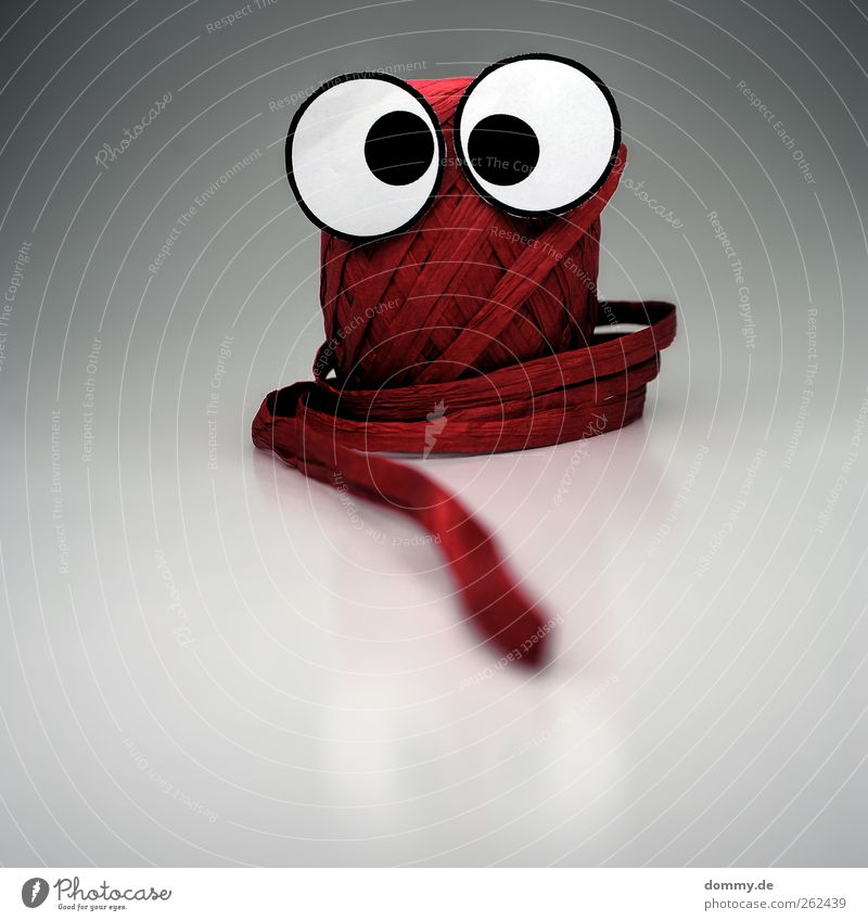 Huh? Paper Packaging Plastic Looking Euphoria Fear Horror String Gift wrapping Eyes Crazy Funny Red Round Reflection Coil Knot Handicraft Life Things