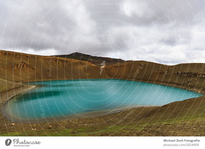 Viti crater at krafla geothermal area iceland in summer Summer Island Snow Mountain Nature Landscape Park Volcano Lake Blue Green Turquoise Volcanic Viti Crater