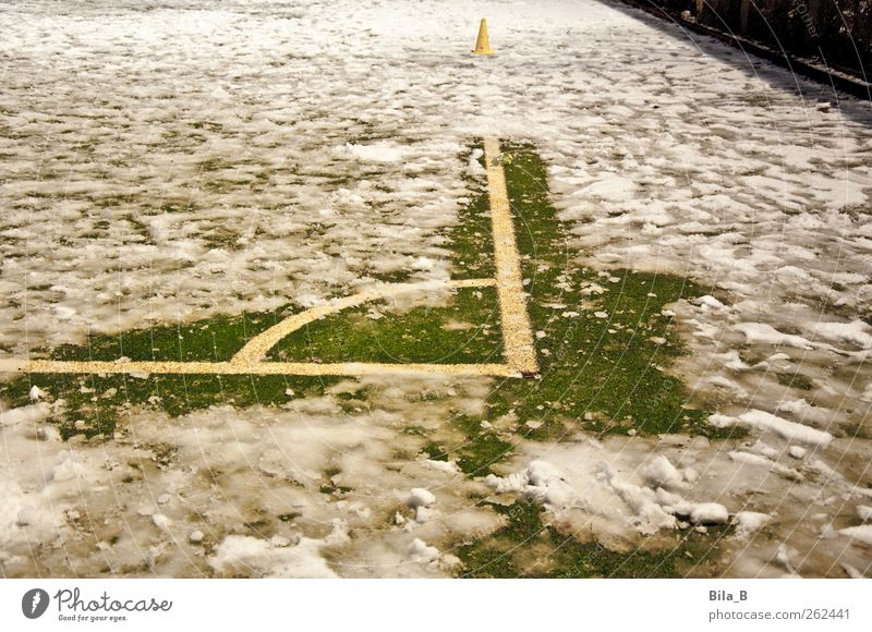 winter sports Sports Ball sports Snow Athletic Yellow Green White Whimsical Joy Soccer team Floodlight Mud Sludgy Skittle Corner Snow mud Wet Cold Winter Meadow
